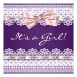 White Lace Pink Ribbon Girl Purple Baby Shower Announcements