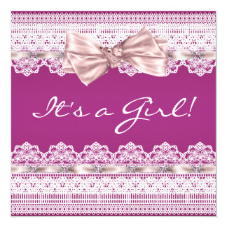 White Lace Pink Ribbon Hot Pink Baby Shower Card