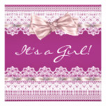 White Lace Pink Ribbon Hot Pink Girl Baby Shower Announcements