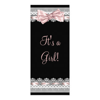 White Lace Pink Ribbon Pink and Black Baby Shower 4x9.25 Paper Invitation Card