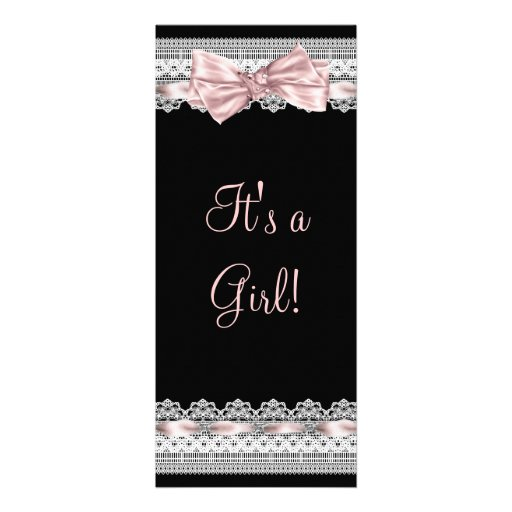 White Lace Pink Ribbon Pink and Black Baby Shower Personalized Announcement