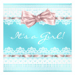 White Lace Pink Ribbon Teal Blue Girl Baby Shower Personalized Announcement