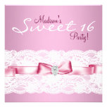 White Lace Pink Sweet Sixteen Birthday Party Personalized Invites