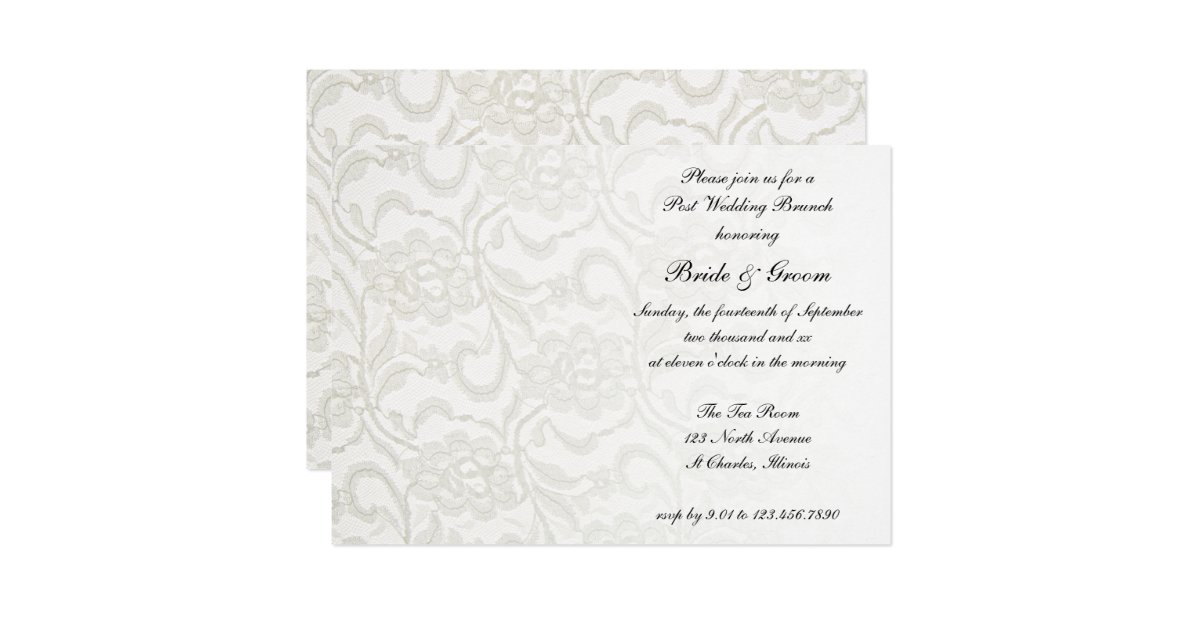 Post Wedding Brunch Invitation Wording: White Lace Post Wedding Brunch Invitation