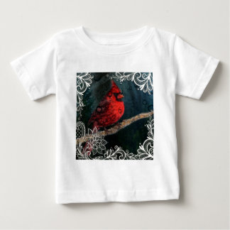 White lace Primitive Christmas Red Cardinal Baby T-Shirt