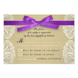 White lace, purple ribbon and burlap wedding RSVP Custom Announcements