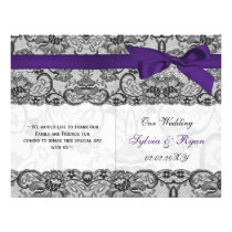 white lace,purple ribbon book fold Wedding program