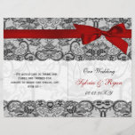 """white lace,red ribbon book fold Wedding program<br><div class=""""desc"""">white lace , red ribbon bi fold Wedding program, you will have to manually fold these programs. click &quot;clear&quot; on you right if you want to remove folding lines on front and back these folding lines are given to guide you that none of your text runs into other side. Matching...</div>"""