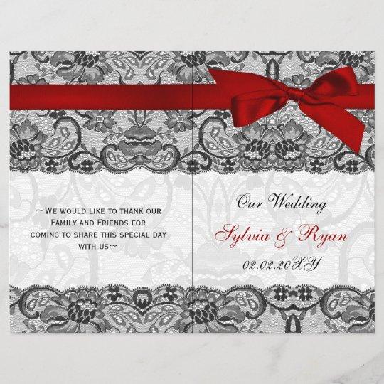 White Lace,red Ribbon Book Fold Wedding Program