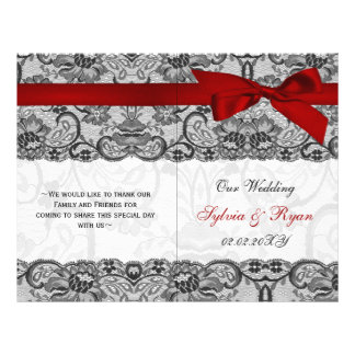 white lace,red ribbon book fold Wedding program