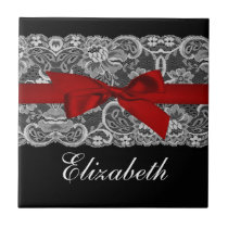 White Lace, Red Ribbon Personalized tile