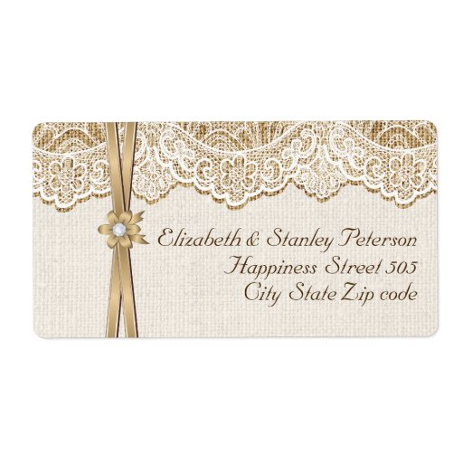 White lace, ribbon and flower on burlap wedding labels