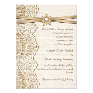 Lace And Ribbon On Burlap themed wedding collection