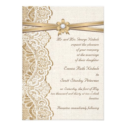 White lace, ribbon, flower & burlap wedding invites
