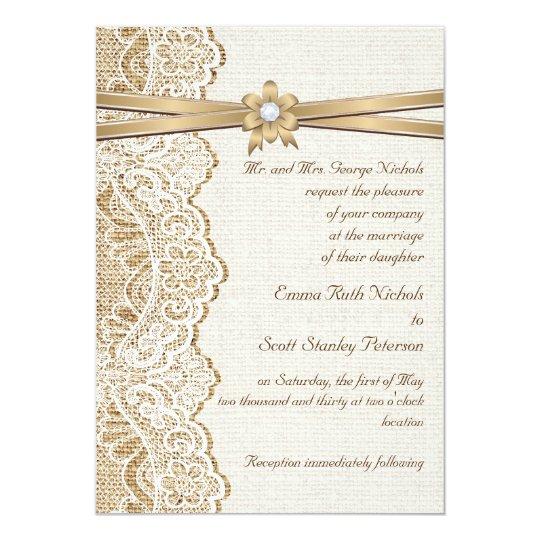 Burlap Invitations Wedding: White Lace, Ribbon, Flower & Burlap Wedding Invitation