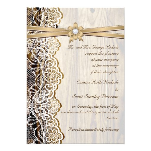 White lace, ribbon, flower & wood wedding personalized announcement