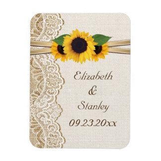 White lace, ribbon, sunflowers and burlap wedding flexible magnet