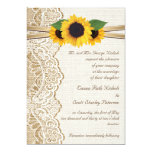 White lace, ribbon & sunflowers on burlap wedding 5x7 paper invitation card