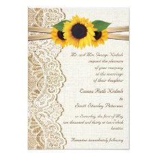 White lace, ribbon & sunflowers on burlap wedding 5