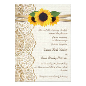 White lace, ribbon & sunflowers on burlap wedding invitation