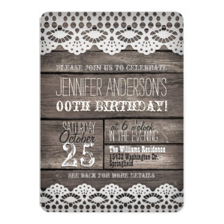White Lace, Rustic Brown Wood Adult Teen Birthday 5x7 Paper Invitation Card