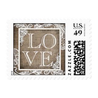 White Lace Rustic Burlap Modern Goth LOVE Stamp