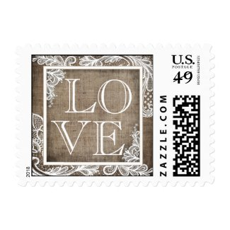 White Lace Rustic Burlap Postage Stamps