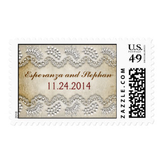 white lace rustic postage stamps