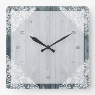 White Lace & Rustic Weathered Faux Wood Square Wall Clock