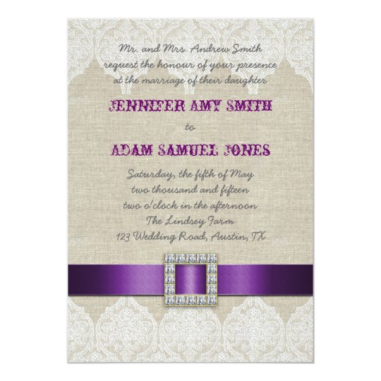 White Lace Rustic Wedding | Purple Ribbon Linen Card