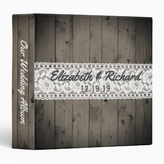 White Lace Rustic Wood Wedding Planner Monogrammed 3 Ring Binder