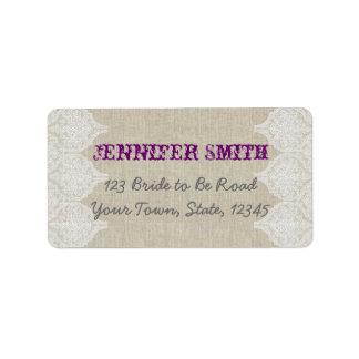 White Lace Vintage Wedding Linen for RSVP Address Label