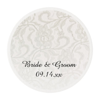 White Lace Wedding Edible Frosting Rounds