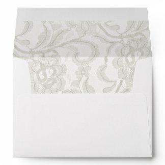 White Lace Wedding Envelope