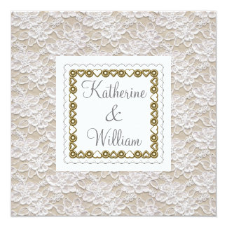 white lace wedding invitation