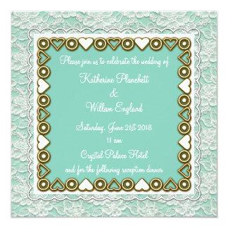 white lace wedding invitation aqua mint