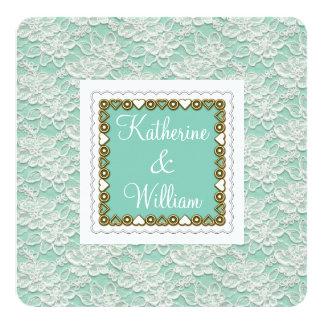 white lace wedding invitation aqua mint rounded