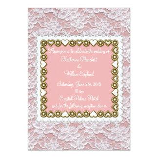 white lace wedding invitation dusky pink