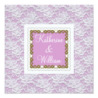 white lace wedding invitation lavender
