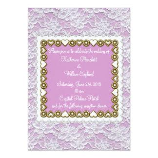 white lace wedding invitation lavender lilac