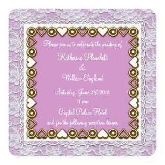 white lace wedding invitation lavender rounded