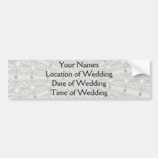 White Lace Wedding Kaleidoscope Your Words Here Bumper Stickers