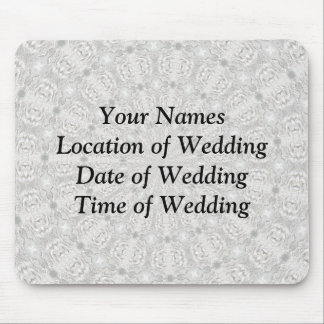 White Lace Wedding Kaleidoscope (Your Words Here) Mousepad