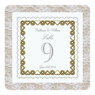 white lace wedding table number card rounded