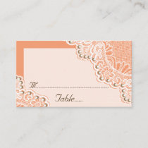 White lace with pearls coral wedding place card