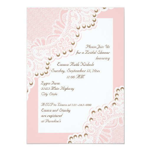 White lace with pearls pink wedding bridal shower cards for Pearl wedding invitations