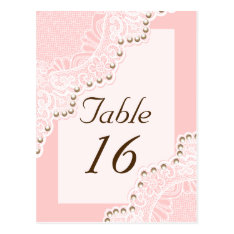 White lace with pearls pink wedding table number postcard at Zazzle