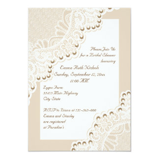 White lace with pearls wedding bridal shower card