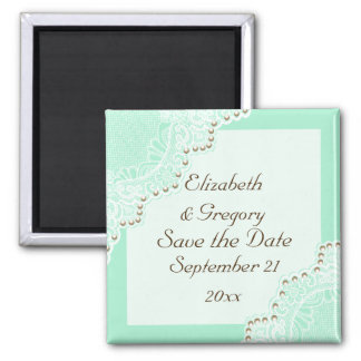 White lace with pearls wedding mint Save the Date 2 Inch Square Magnet
