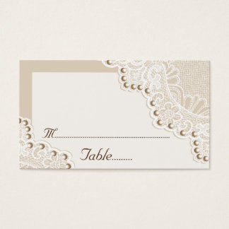 White lace with pearls wedding place card